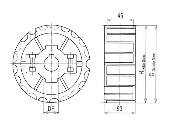 Ilustrasi Ukuran Steel Table Top Chain Split Sprocket 812   Trindo Sukses Mandiri
