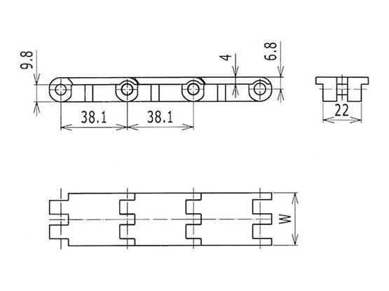 Ilustrasi Ukuran Thermoplastic Table Top Chain 820 Mini | Trindo Sukses Mandiri