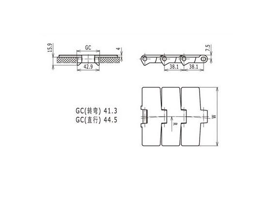 Ilustrasi Ukuran Thermoplastic Table Top Chain 820   Trindo Sukses Mandiri