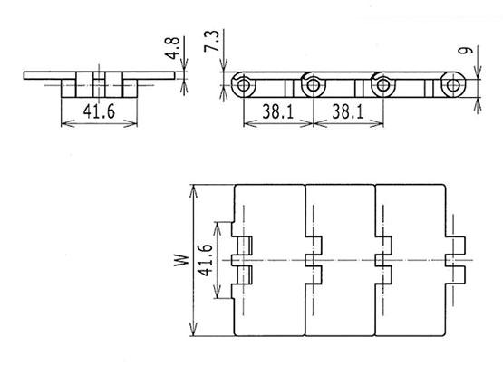 Ilustrasi Ukuran Thermoplastic Table Top Chain 831 | Trindo Sukses Mandiri