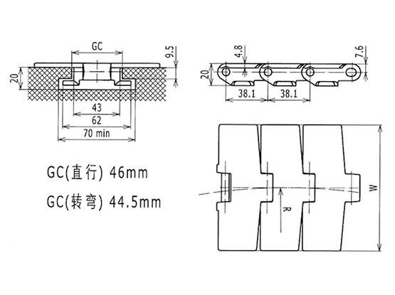 Ilustrasi Ukuran Thermoplastic Table Top Chain 879TAB | Trindo Sukses Mandiri