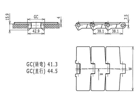 Ilustrasi Ukuran Thermoplastic Table Top Chain 880 Bevel | Trindo Sukses Mandiri