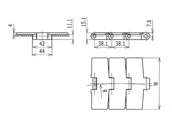 Ilustrasi Ukuran Thermoplastic Table Top Chain 880M Magnetic | Trindo Sukses Mandiri