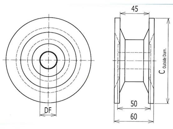 Ilustrasi Ukuran Thermoplastic Table Top Chain Classic Idler Drum 820 | Trindo Sukses Mandiri