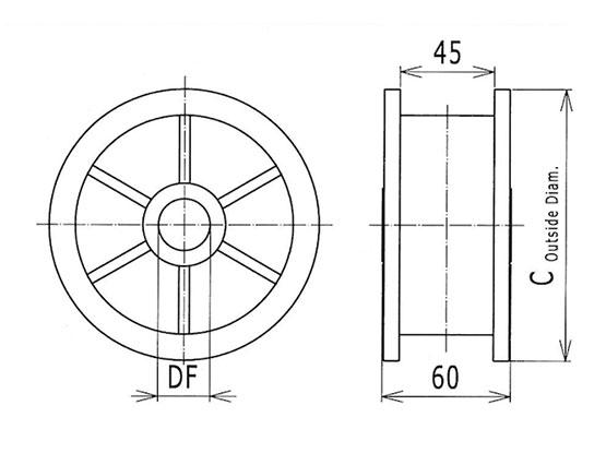 Ilustrasi Ukuran Thermoplastic Table Top Chain Classic Idler Drums Sprocket 820 | Trindo Sukses Mandiri