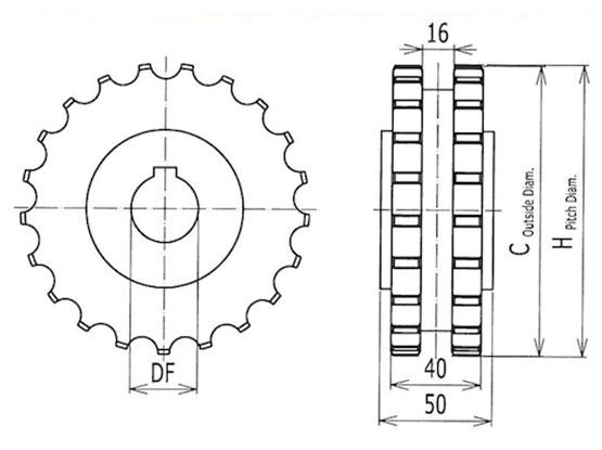 Ilustrasi Ukuran Thermoplastic Table Top Chain Classic Sprocket 820 | Trindo Sukses Mandiri