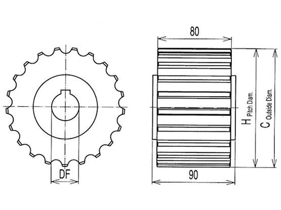 Ilustrasi Ukuran Thermoplastic Table Top Chain Classic Sprocket 821 | Trindo Sukses Mandiri
