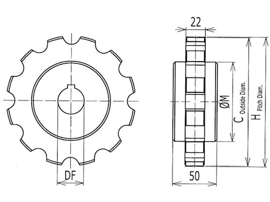 Ilustrasi Ukuran Thermoplastic Table Top Chain Classic Sprocket 882 | Trindo Sukses Mandiri