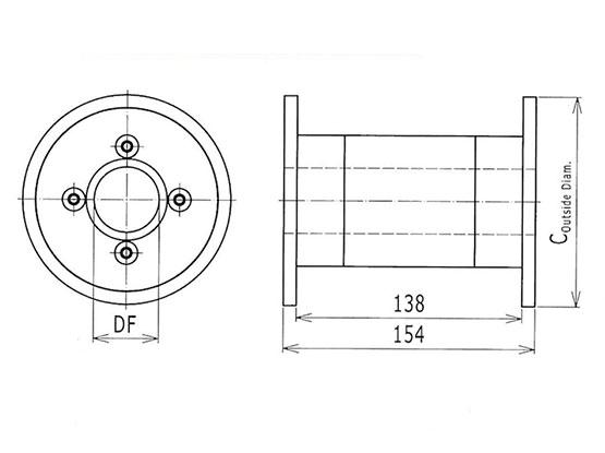 Ilustrasi Ukuran Thermoplastic Table Top Chain Idler Drums 821 | Trindo Sukses Mandiri