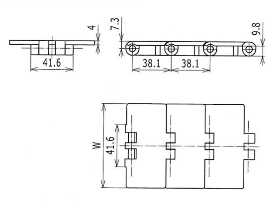 Ilustrasi Ukuran Thermoplastic Table Top Chain SH84 | Trindo Sukses Mandiri