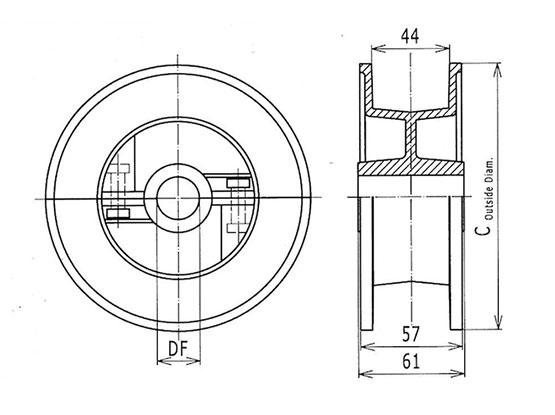Ilustrasi Ukuran Thermoplastic Table Top Chain Split Idler Drums Sprocket 820 | Trindo Sukses Mandiri