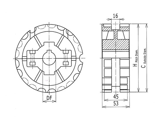Ilustrasi Ukuran Thermoplastic Table Top Chain Split Sprocket 820 | Trindo Sukses Mandiri