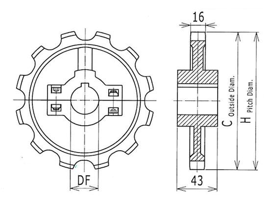Ilustrasi Ukuran Thermoplastic Table Top Chain Split Sprocket 880 | Trindo Sukses Mandiri