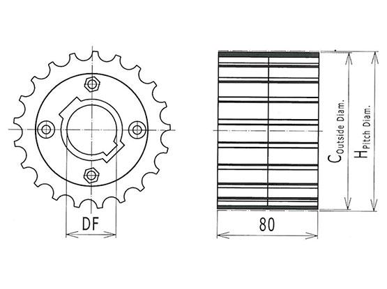 Ilustrasi Ukuran Thermoplastic Table Top Chain Sprocket 821 | Trindo Sukses Mandiri